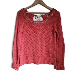 free people pointelle beaded neck sweater size s
